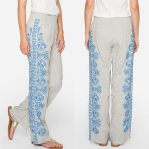 Johnny Was Baja Palazzo Pant Linen Embroidered